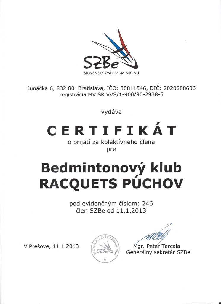 Osvedčenie BKR od SZBe